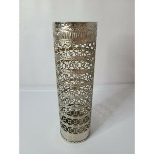 Silver tone embossed Metal Carved cutout Cylinder
